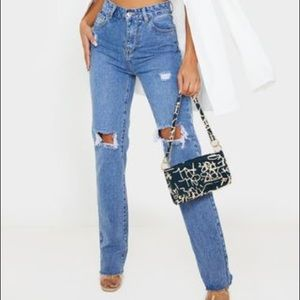 Mid Wash High Rise Distressed Straight leg Jeans